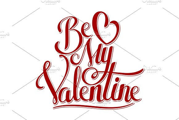 Valentine hand lettering vector illustration