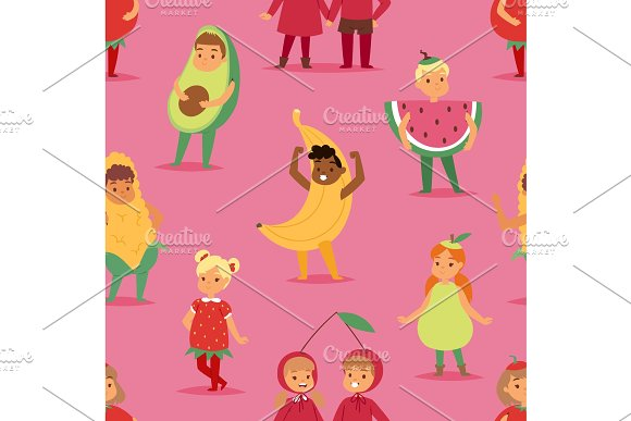 Kids children party fruits costume vector cartoon mask and dress festive boys and girls fancy childhood kid Christmas party characters illustration seamless pattern background