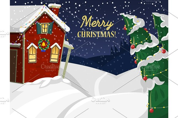 Winter landscape with christmas houses firtree mountain frozen nature wallpaper beautiful natural vector illustration.