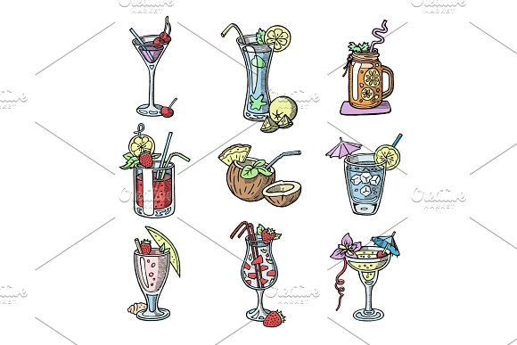Cocktail hand drawn sketch vector alcohol drinks bar party glass cocktail collection isolated on white background illustration