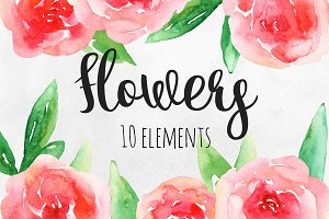 Watercolor red flowers clip art