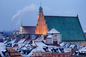 Winter Roofs In Warsaw Old Town