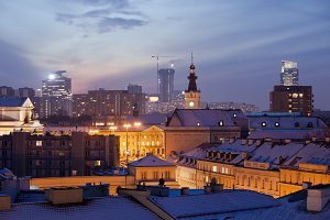 Warsaw Cityscape At Evening