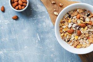 Muesli with almond nuts