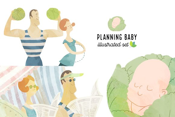 Planning baby illustrated set