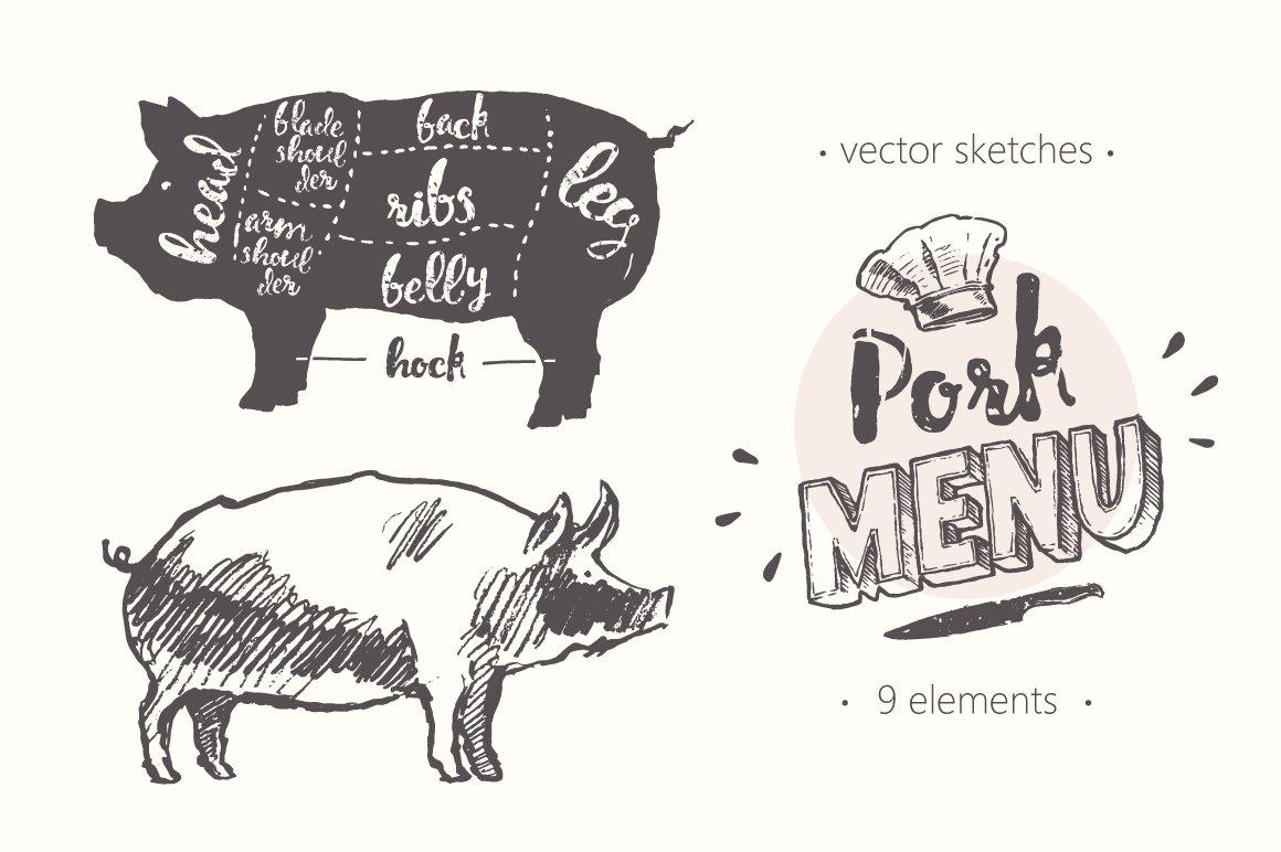 Design elements for a pork menu ~ Illustrations ~ Creative