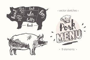 Design elements for a pork menu