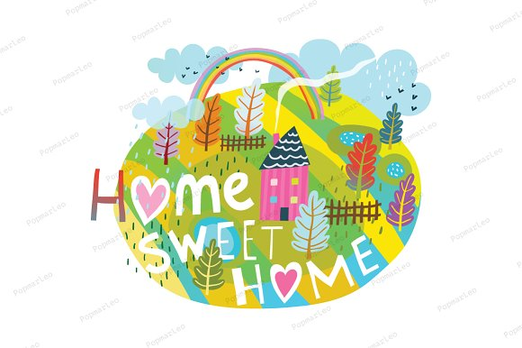Home Sweet Home Graphic Lettering in Illustrations