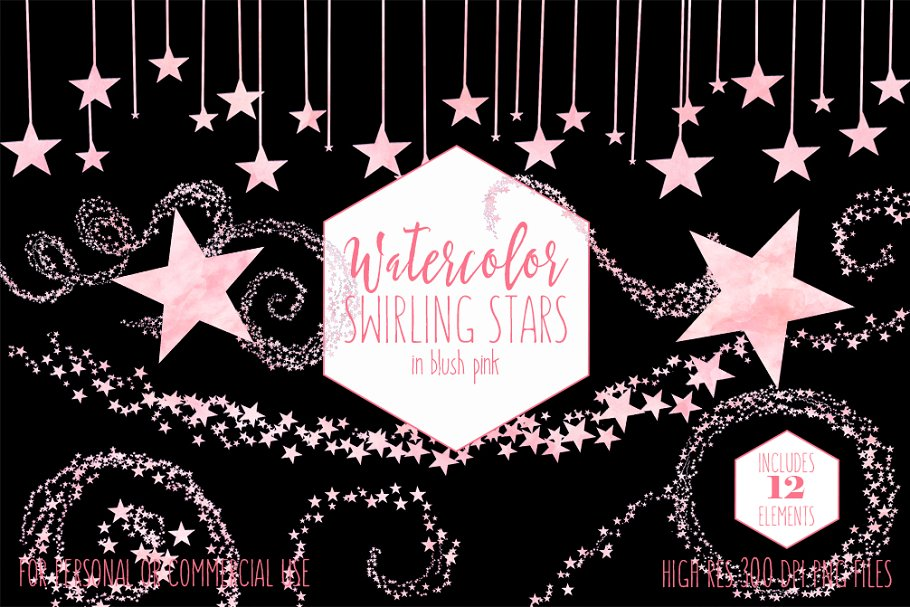 Blush Pink Watercolor Star Clipart