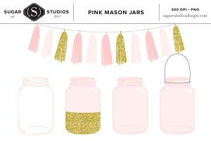 Pink Mason Jars with Tassel Clip Art