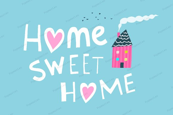 Home Sweet Home Graphic Quote in Illustrations