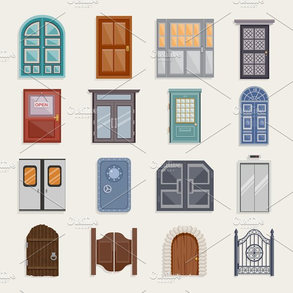 Door flat icon set