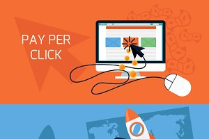 Concept of start up, pay per click