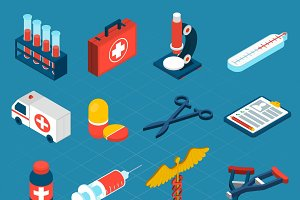 Medical isometric icons set