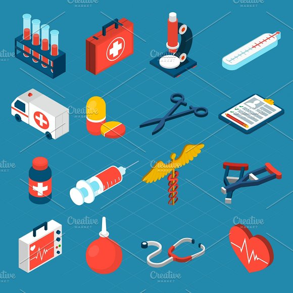 Medical isometric icons set in Graphics