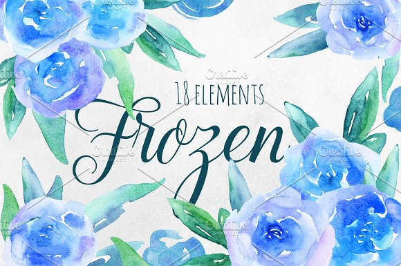 Watercolor blue flowers clip art in Illustrations