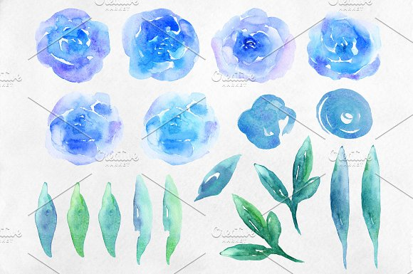 Watercolor blue flowers clip art in Illustrations - product preview 1