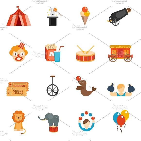 Circus performance icon flat set