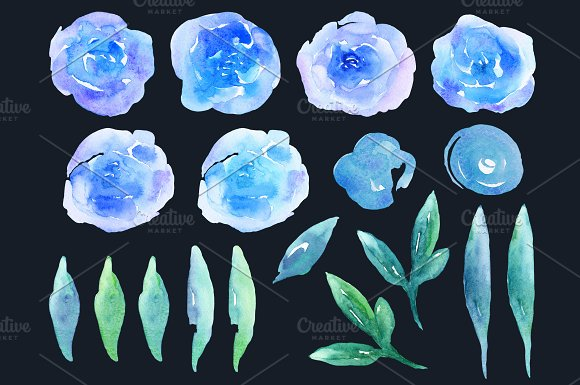 Watercolor blue flowers clip art in Illustrations - product preview 2