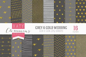 Gray & Gold Wedding Luxe Paper pack