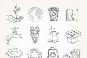 Doodles ecology icons set