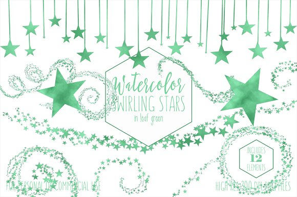 Kelly Green Watercolor Star Clipart