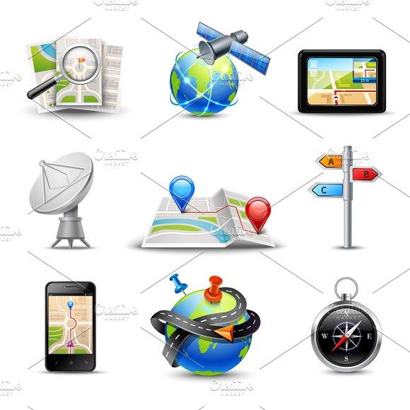 Realistic navigation icons set