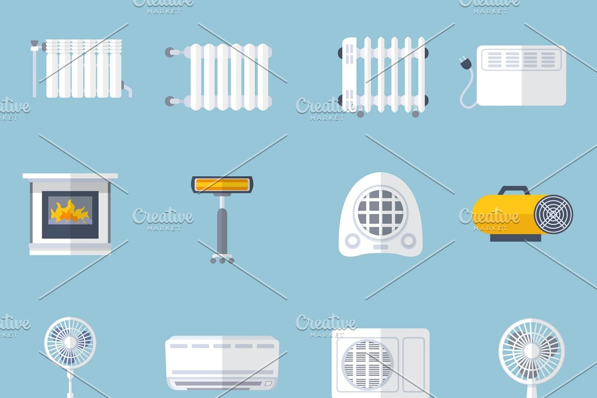 Heating and cooling flat icons