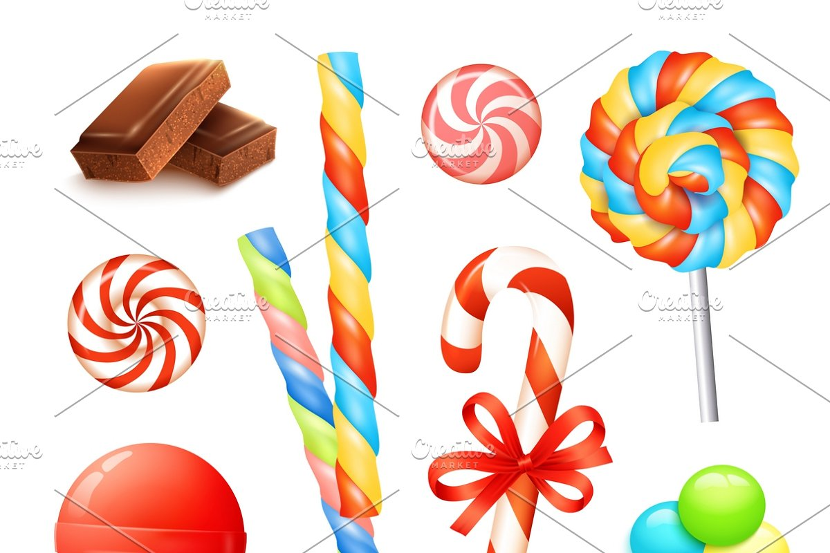 Candies and sweets icons set