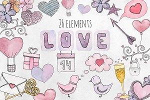 Watercolor Valentines day clip art