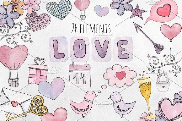 Watercolor Valentines day clip art