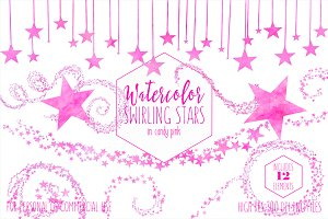Watercolor Twinkle Stars in Pink