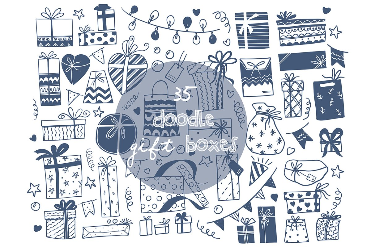 Doodle gift boxes HandDrawn vector