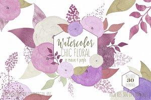 Chic Mauve Watercolor Flowers