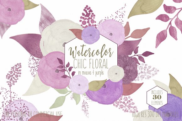 Chic Mauve Watercolor Flowers