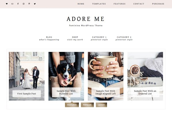 WordPress Blog Themes: Studio Mommy - Adore Me WordPress Theme