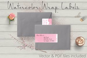 Watercolor Wrap Labels