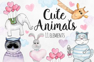 Watercolor cute animals clip art