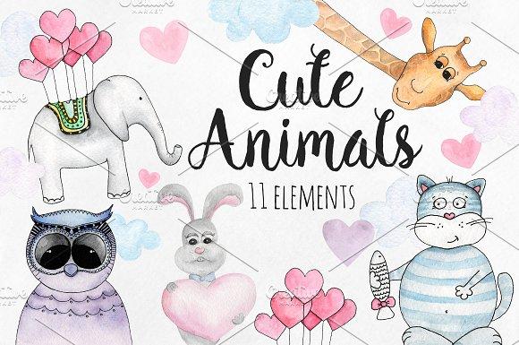 Watercolor cute animals clip art
