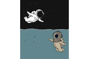 diver and astronaut