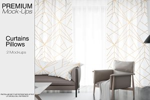 Pillows and Curtains Mockup