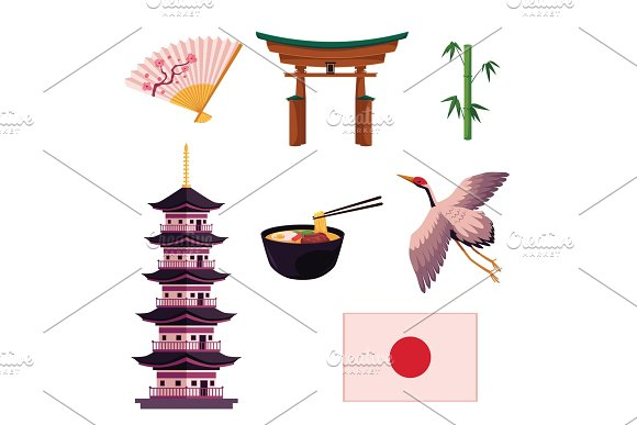 Collection of Japanese culture symbols, icons