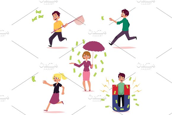 vector casual people chasing for money set