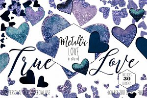 Metallic Glitter Hearts Navy Blue
