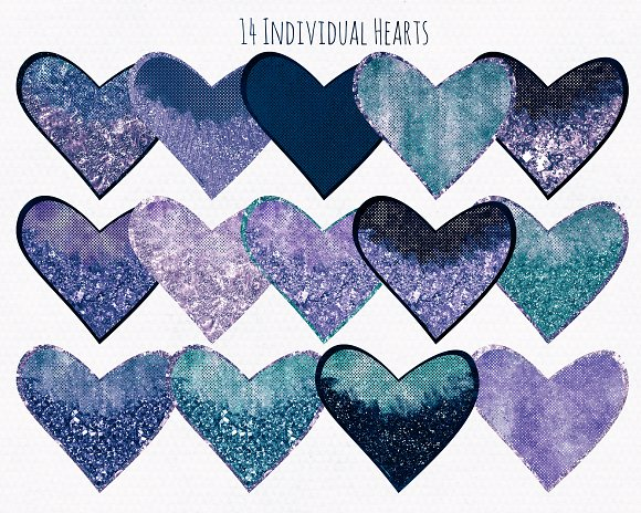 Metallic Glitter Hearts Navy Blue in Illustrations - product preview 1