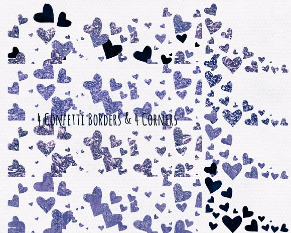 Metallic Glitter Hearts Navy Blue in Illustrations - product preview 2