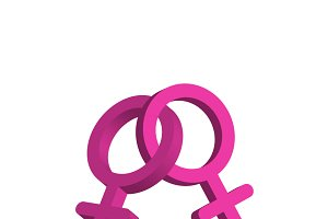 Crossed pink women gender signs