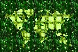Hitech pixelated world map on matrix