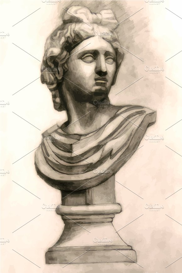Antique Antinous plaster bust in Illustrations