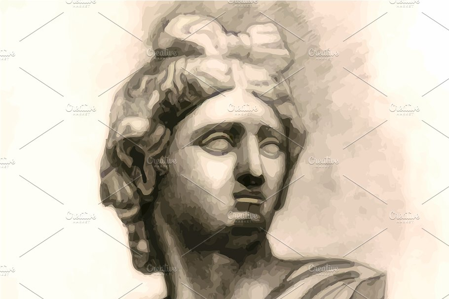 Antique Antinous plaster bust in Illustrations - product preview 8